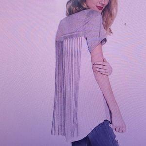 Easel Fringe Trim T Shirt Top Tunic Blouse New